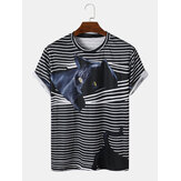 Mens 3D Striped Cat Printing Round Neck Casual Short Sleeve T-Shirt