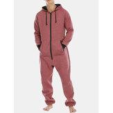 Macacão masculino com capuz com capuz de manga comprida em casa pijamas com zíper