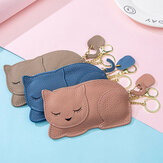 Women Genuine Leather Casual Cute Animal Nap Cat Pattern Mini Keychain Coin Bag Storage Bag