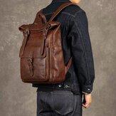Ekphero Mężczyźni Kobiety PU Skóra Vintage Duży Plecak Captial