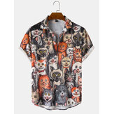Mens Halloween Allover Funny Cat Print Casual Loose Fit Short Sleeve Shirts
