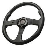 14 Inch 350mm Steering Wheel Universal Flat Genuine leather Drift Racing