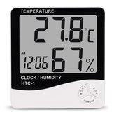 HTC-1 Digital LCD Alarme Eletrônico Relógio Termômetro Hygrometer Weather Station Indoor Room Table