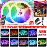 2x5M Müzik Ses Aktif LED Şerit Işık Su Geçirmez 3528 RGB Bant Altında Dolap Mutfak Lamba Set + 44Keys Uzakdan Kumanda