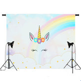 5x3ft 7x5ft Rainbow Clouds Sky Unicorn Photography Backdrop Studio Prop Fondo