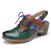 SOCOFY Vintage Leather Two-ways Detachable Strap Slip On Mules Lace Up Hook Loop Slingback Pumps