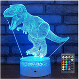 USB/Battery Powered 3D Children Kids Night Light Lamp Dinosaur Toys Boys 16 Colors Changing LED Remote Control+Base Christmas Decorations Clearance Christmas Lights