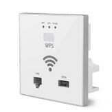 Duvarda 300Mbps AP WiFi Erişim Noktası Kablosuz Soket AP WPS LAN Port USB Şarj Desteği