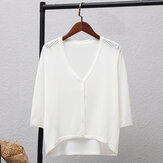 Thin section short paragraph ice silk  sunscreen shirt seven-point sleeve sweaters