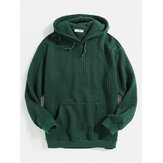 Mens Jacquard Designer Plain Hoodies With Kangaroo Pocket