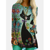 Original              Cartoon Cat Print O-neck Long Sleeve Casual Blouse