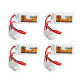 4Pcs ZOP Power 7.4V 400mAh 50C 2S Lipo Battery JST Plug For Eachine Aurora 68 Fatbee FB90