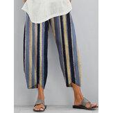 Women Casual Stripe Elastic Waist Pocket Irregular Hem Pants