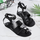 Women Summer Roman Black Clip Toe Buckle Strap Flat Sandals