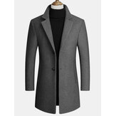 Mens Wool Blends Mid-Length Coats Business Casual Wool Trench Coats