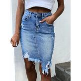 Mulheres bolso hem irregular cintura alta rasgado saias jeans