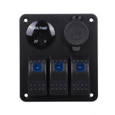 3 Gang Switch Panel Dual USB Car Marine Boat LED Power Socket 12/24V Waterproof