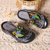 SOCOFY Handmade Genuine Leather Vintage Floral Pattern Hollow Stitching Soft Slip On Sandals
