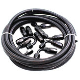 5M AN8 Nylon Stainless Steel Braided Fuel 0°/45°/90°/180° Hose End Fuel Adapter Kit Oil