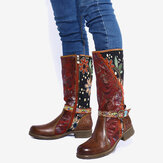 SOCOFY Women's Splicing Floral Pattern Lace Buckle Deco Zipper Mid-calf Block Heel Boots