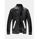 Mens Snap Button Baseball Collar PU Jacket With Contrast Ribbed Trim