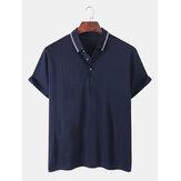 Camisas de golf ocasionales semiabiertas transpirables con cuello plegado de color sólido para hombre