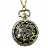 DEFFRUN Hollow Butterfly Flower Quartz Pocket Watch