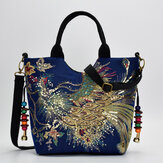 Women Canvas Embroidery Peacock Pattern Ethnic Style Multi-carry Handbag Crossbody Bag Shoulder Bag