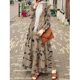 Women Retro Floral Printing Puff Sleeve O-Neck Casual Holiday Maxi Dress