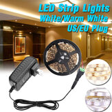 16.4FT 5M 24W 3528 SMD Waterproof LED Strip Light White/Warm White Dimmable Tape Lamp For Home Kitchen