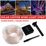 7M 12M all'aperto solare alimentato LED Rame tubo da giardino di Natale impermeabile leggero in filo metallico lampada