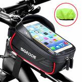 SGODDE Bike Phone Bag Fahrradrahmenhalter Wasserdicht berührbar Fahrradzubehörtasche mit großer Kapazität und Sonnenblende für 5,5-6,5-Zoll-Telefone