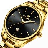 FNGEEN W5128 Business Luminous Needle z kalendarzowym wyświetlaczem daty Stalowy pasek Wodoodporny męski zegarek kwarcowy