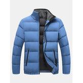 Abrigos de color sólido gruesos de manga larga con cuello alto a prueba de viento para hombre