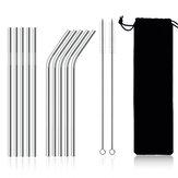 11 Adet Paslanmaz Çelik Metal Straw Yeniden Kullanılabilir Payet İçme
