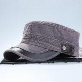 Mens Washed Cotton Flat Top Hut Militärische Armee Schirmmütze