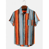Mens Casual Multi Color Striped Pocket Respirável Camisas de manga curta