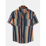 Mens Designer Gradient Colorful Stripe Double Pockets Short Sleeve Casual Shirts