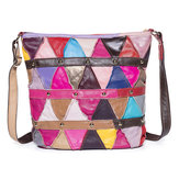 Women Vintage Triangle Patchwork Genuine Leather Bag
