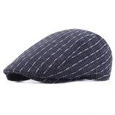 Unisex Algodão Listra Beret Hat Buckle Ajustável Golf Condução Flat Cabbie Newsboy Beret Cap