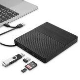 Harici Optik Sürücü USB3.0 Type-C CD Burner Çok Fonksiyonlu Yüksek Hızlı CD / DVD Oynatıcı TF / SD Kart Okuyucu Windows Linux Mac Sistemi için