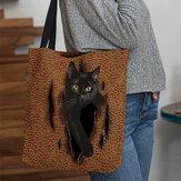 Mulheres se sentiram fofinho 3D tridimensional desenho animado gato preto Padrão bolsa de ombro Bolsa