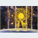 1000 Pieces Deer in the Forest DIY Assembly Jigsaw Puzzles Landscape Picture Educational Games Toy for Adults Children Pretty Gift