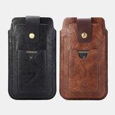 Couro PU retro masculino com suporte para cartão de 2 camadas armazenamento para celular Bolsa Pacote de cintura Cinto