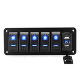4/5/6 Gang أخضر Rocker Switch Panel Breaker Breaker LED ضد للماء Car Marine
