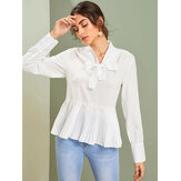 Casual Loose V-neck Long Sleeve Pleated Blouse For Women