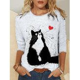 Camicette casual da donna con stampa gatto carino Plus