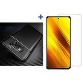 Bakeey pour POCO X3 Accessoires NFC Motif en fibre de carbone avec protecteur d'objectif Etui de protection + Protecteur d'écran en verre trempé anti-explosion Non original