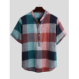 Mens Vintage Plaid Color Block Style Stand Collar Half Button Casual Henley Shirts