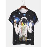 Camisetas sueltas de manga corta con estampado espacial de astronauta de dibujos animados divertidos para hombre